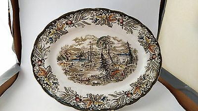 """Ridgway - Heritage - Scenes of Early Canada - 12 1/8"""" Oval Serving Platter"""