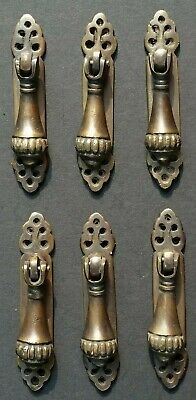 "6 antique style vertical brass ornate pendant drop pull handles 2 7/8"" #H6"