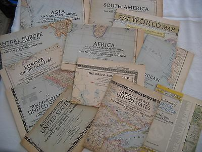 Lot 0f 12 OLD National Geographic World Europe Greco-Roman Africa WW2 Occ Zones