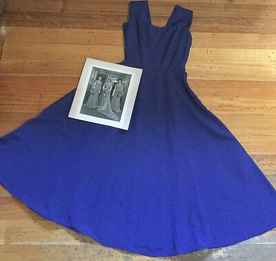 VINTAGE LADIES FORMAL DRESS FROCK 1950's ROCKABILLY BLUE SLEEVELESS Beautiful !