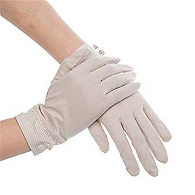Summer Women Sun UV Protection Outdoor Solid Color Cotton Driving Gloves