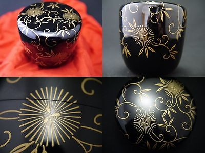 "Japanese Lacquer Wooden Tea Caddy Natsume W/ Design In Makie ""arabesque"" (J16)"