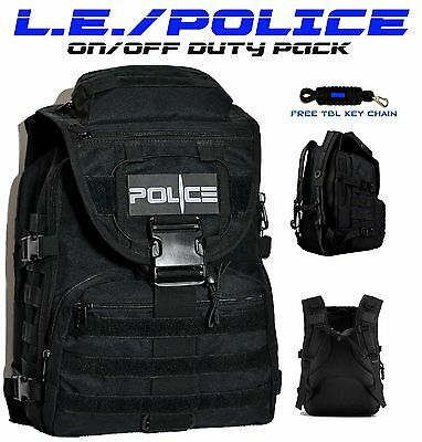 POLICE Law Enforcement Tactical Backpack On/Off Duty Bag + FREE TBL Key Chain