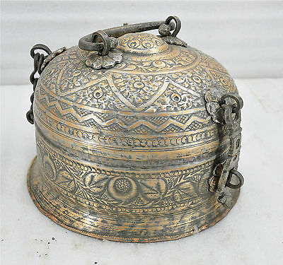 1800s Indian Antique Fine Hand Engraved Copper Pan Daan Betel Leaf Box Rare