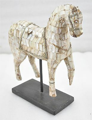 1950s Indian Vintage Hand Carved Mother of Pearl Fitted Wooden Horse Figurine