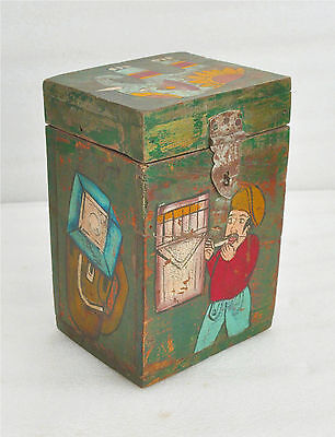 1900s Indian Antique Hand Crafted Painted Wooden Box