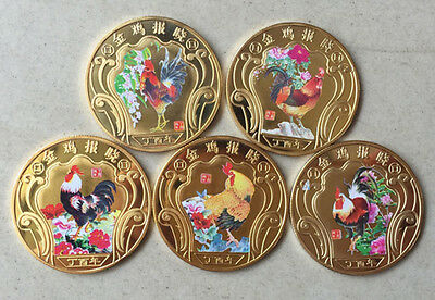 5 Pieces 2017 Chinese Zodiac 24K Gold Colour Medal Coin--Year of the Rooster