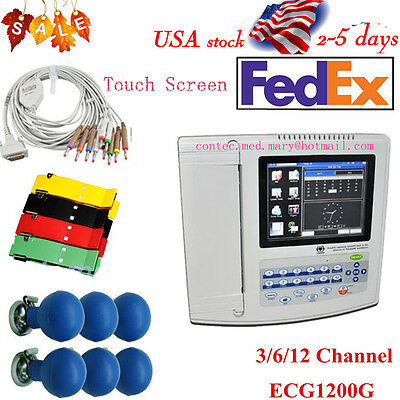 CONTEC ECG1200G Digital 12 ECG/EKG Electrocardiog, Free PC Software Touch Screen