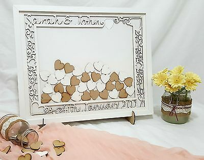 Filigree Wedding Guest Book Drop Box/Personalised Frame /Includes Stand & Hearts