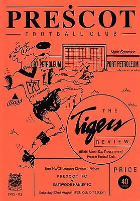 Prescot Fc V Eastwood Hanley Fc-  Nw Counties League - 22/8/92