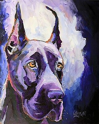 Great Dane Dog 8x10 signed art PRINT RJK from painting