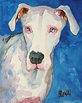 Great Dane Dog Art Print Signed by Artist Ron Krajewski Painting 8x10