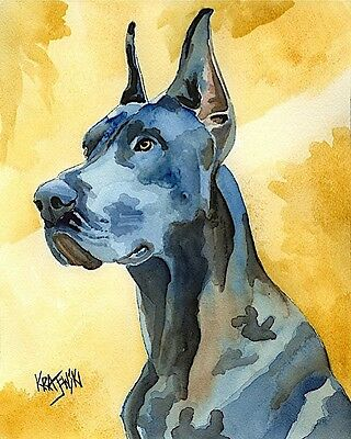 Great Dane Dog Art Print Signed by Artist Ron Krajewski Painting 8x10 Black