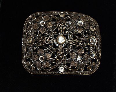 Antique Victorian Ornate Filigree Czech Brass  Belt Buckle Clear Rhinestones
