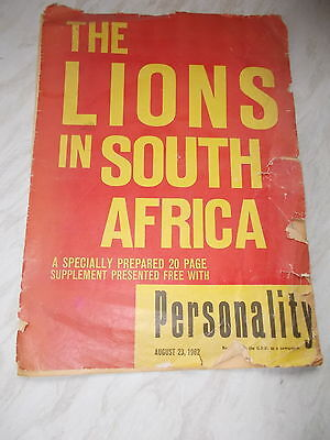 The Lions In South Africa -20 Paged Supplement To Personalty Dated 23/8/1962
