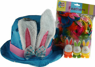 BLUE Large Bunny Ears Felt Easter Hat / Bonnet With Feathers And Spotty Bunnies!