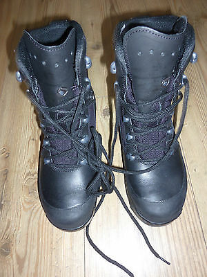 Haix Combat High Liability Womens Black Leather Boots Size 5M British Army Issue