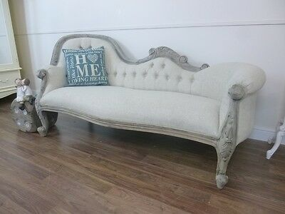 Handmade French Upholstered Chaise Lounge In Weathered Oak