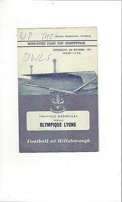 Sheffield Wednesday v Olympique Lyons Fairs Cup Football Programme 1961/62