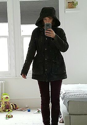 Topshop Maternity dark green Distressed Wax Hooded coat barbour style size 12