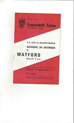 Lowestoft Town v Watford FA Cup Football Programme 1967/68