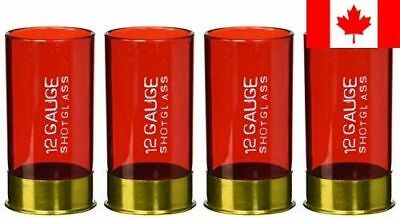 Fairly Odd Novelties 12 Gauge Shotgun Shell Shot Glasses, Red, Set of 4
