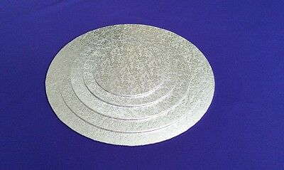 "Cake Boards Cake Drum | Masonite Base | Round 3 mm | Silver | 6"" 8"" 10"" 12"" 14"""
