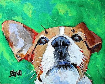 Jack Russell Terrier Art Print Signed by Artist Ron Krajewski Painting 8x10 Dog
