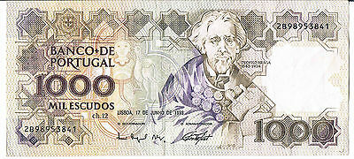 PORTUGAL BANKNOTE 1000 P181j 1993 GVF 1/6 SIG TYPES THIS PICK