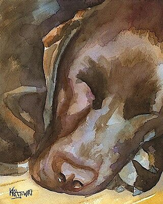 Labrador Retriever Art Print Signed Artist Ron Krajewski Painting 8x10 Chocolate