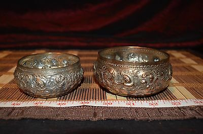 Antique Vintage Pair Tinned Copper Bowls w/ Hammered Embossed Scenes Marked