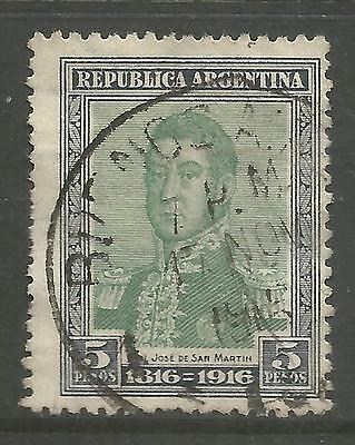 ARGENTINA. 1916. Independence Centenary 5 Peso Green & Grey. SG: 430. Fine Used.