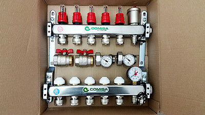 Underfloor Heating Manifold 5 Port with 16mm Pipe Connections