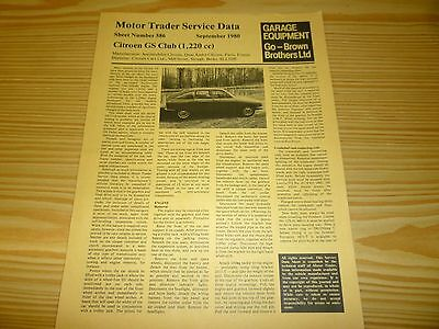 Motor Trader SERVICE DATA for CITROEN GS CLUB. 1980