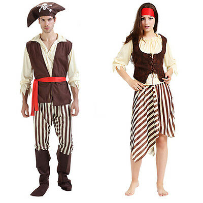 Pirate Costume Adult Women Man Halloween Pirate Captain Cosplay Fancy Dress
