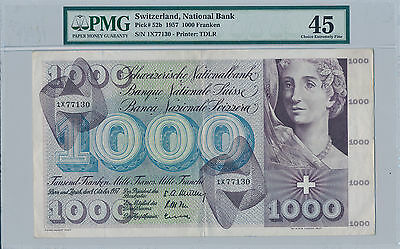 Switzerland 1000 Franken 1957 Pick# 52b - PMG Choice Extremely Fine 45