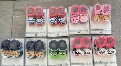 Job Lot New 3d Baby Boy Girl Rattle Foot Socks X 9 Pairs RRP £3.99 Each