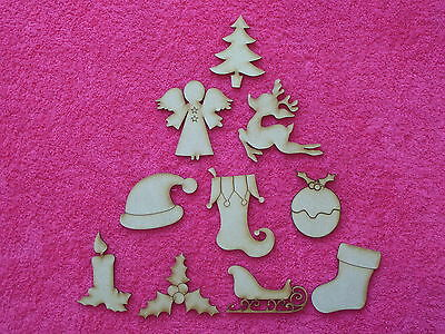 Wooden MDF Christmas Shape Sets, craft blank shapes, Embellishments, 3mm Thick