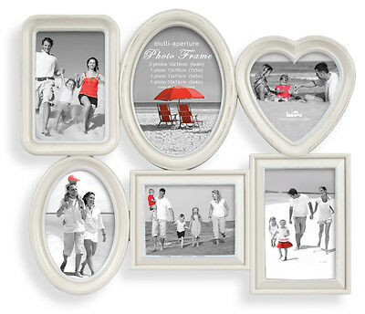 Shabby Chic Multi Aperture Photo Frame Picture Frame Holds 6 Photos Off White