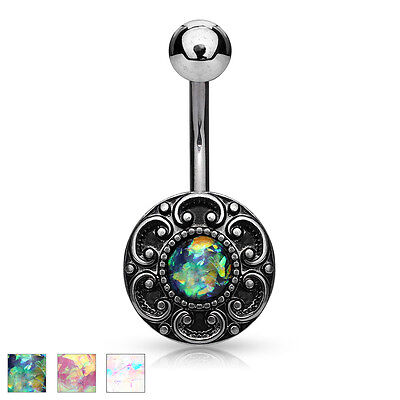 Antique Silver Plated Filigree Surgical Steel Belly Bar With Opal Glitter Centre