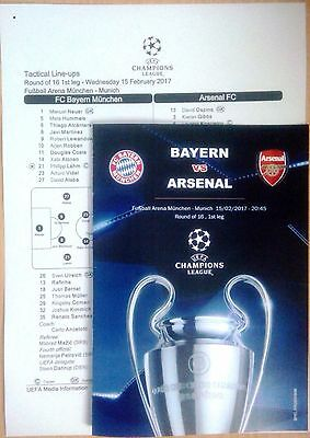 BAYERN Munich Germany ARSENAL London England 2017 CHL programm+ official linesup