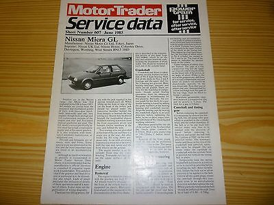Motor Trader Service Data no.607 for NISSAN MICRA GL. 1985