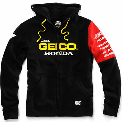 New 100% Team Geico Honda Mens Factory Zip Up Hoodie Hoody Black Motocross Mx