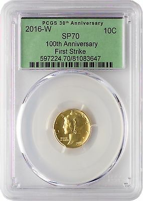 2016-W Gold Mercury Dime 100th Anniversary PCGS SP70 First Strike - Green