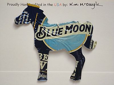 Embossed Horse Handmade Christmas Ornament Recycled Aluminum Blue M Beer Can