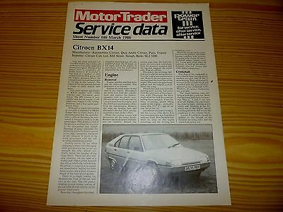 Motor Trader Service Data no.616 for  CITROEN  BX14.    1986