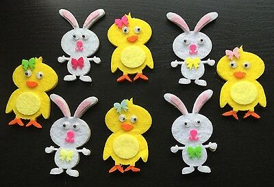 8 x Felt Easter Self Adhesive Stickers - Bunnies &  Chicks  - New