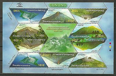 Indonesia 2003 Volcanoes Vulkane mountains Berge unusual stamps S/S Bloc Rar MNH
