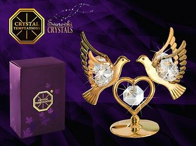 Swarovski crystal figure 24k gold plated Doves with Heart gift
