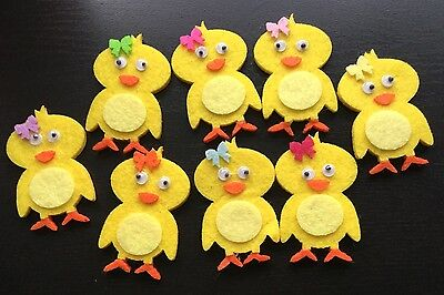 8 x Felt Easter Self Adhesive Stickers - Chicks  - New